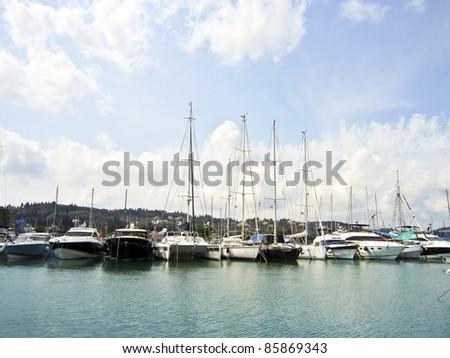 Boat harbor on corfu, greece - stock photo