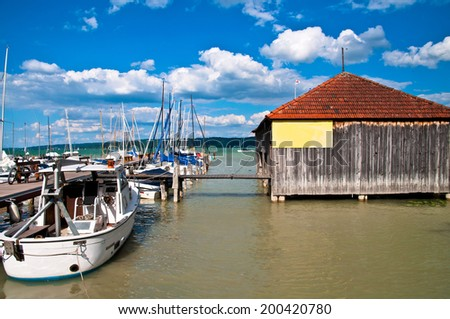 Boat harbor on the Ammersee in Germany - stock photo