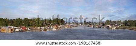 Boat Houses and Marina at Hayden Island Along Columbia River with Mt Hood Panorama - stock photo