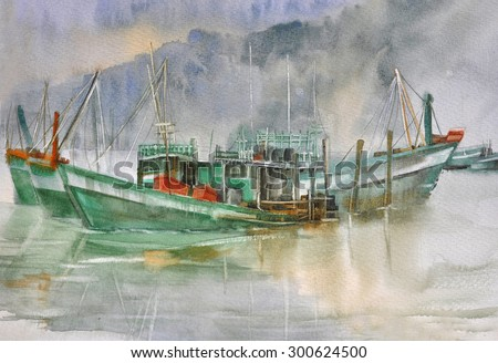 Boat In A Bay With Mountains Watercolor Seascape Painting. - stock photo