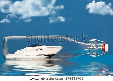 Boat in a bottle - stock photo