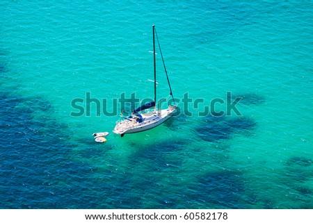Boat in Black Sea,Crimea,Ukraine - stock photo
