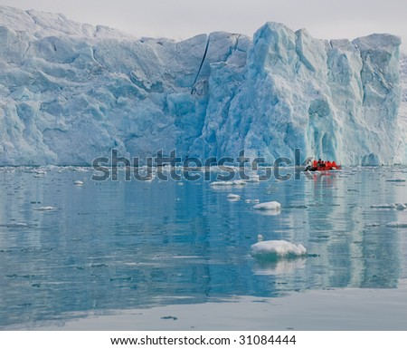 Boat in fjord with glacier, Arctic, Spitsbergen