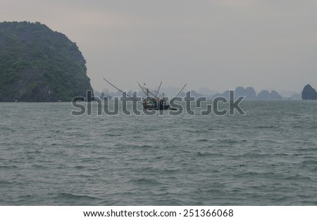 Boat in Halong Bay, Indochina sea, Vietnam.