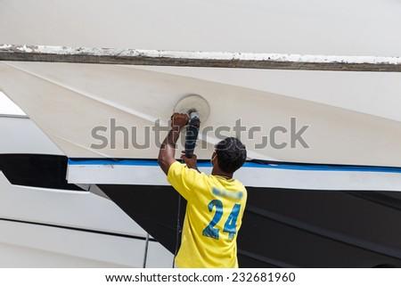 Boat in maintenance in Phuket, Thailand - stock photo