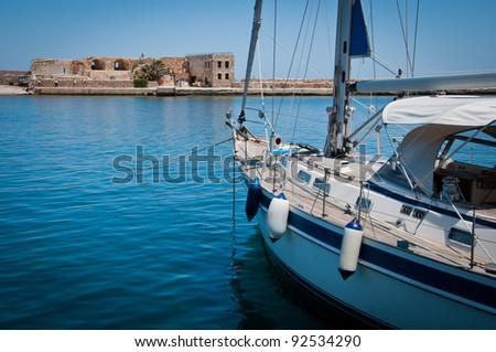 Boat in Old Harbor, Chania, Greece - stock photo