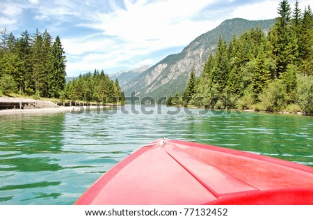 boat in the pond POV - stock photo