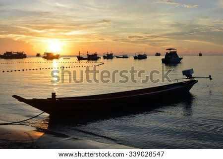 boat in the sea and nature twilight sunset