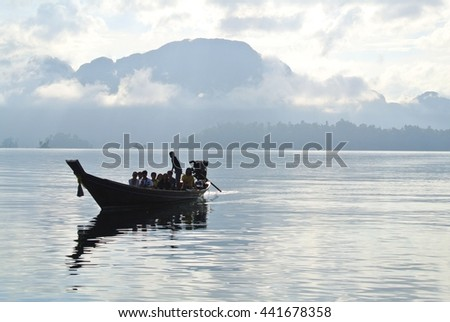 Boat in the sea with fog