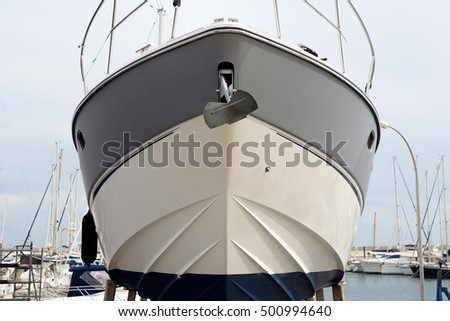 boat is in dry dock, front view