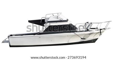 boat isolated on white - stock photo