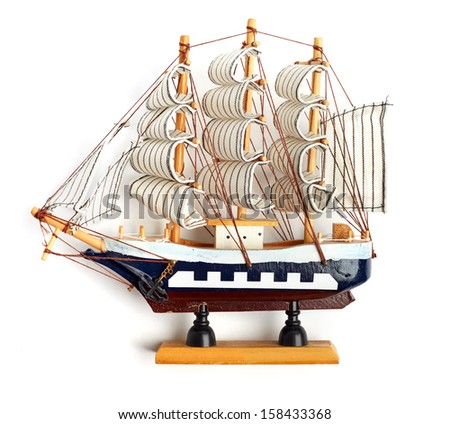 Boat model. small wooden ship. - stock photo