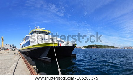 Boat moored in the port of Stavanger, Norway.