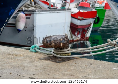 Boat mooring in spanish port (Javea, Spain) - stock photo