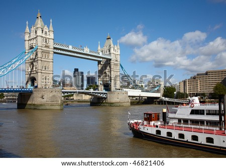 Boat near of the Tower bridge in London - stock photo