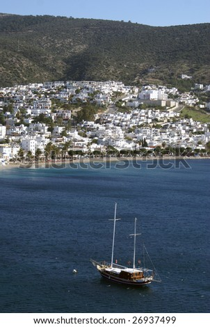 Boat near sea shore in Bodrum, Turkey - stock photo