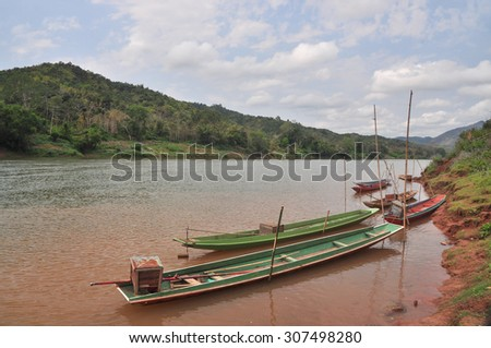 Boat of local people in southeast asia - stock photo