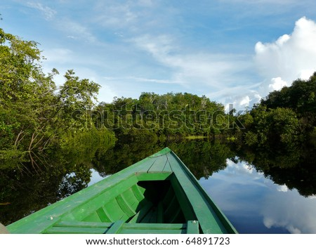 Boat on Amazon river, Brazil - stock photo
