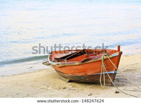 boat on beach - stock photo