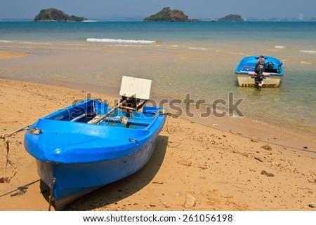 boat on beach samed island - stock photo