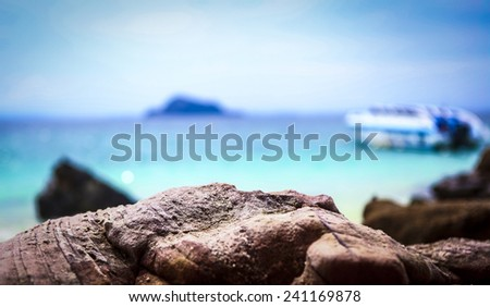 boat  on the background of the sea - stock photo
