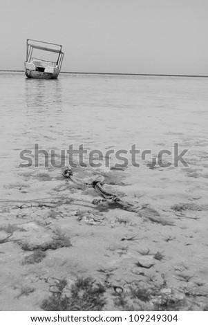 Boat on the beach. - stock photo