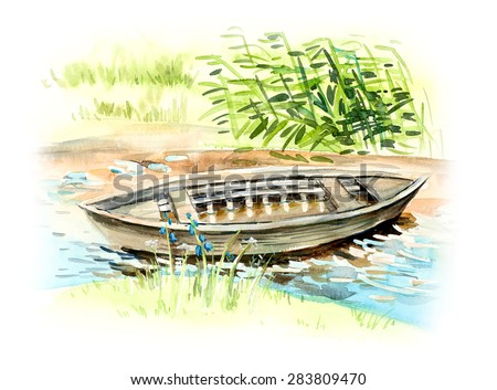 Boat on the beach at sunny day. Background with stream. Blue water and green cane. Watercolor hand drawn illustration. - stock photo