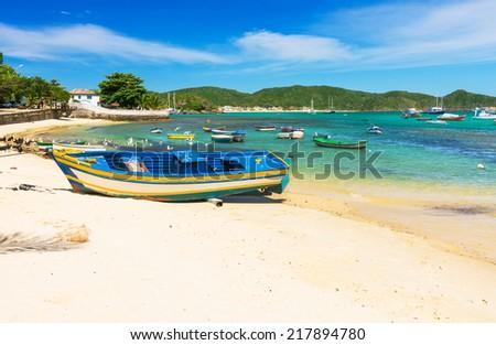 Boat on the beach in Buzios, Rio de Janeiro. Brazil - stock photo