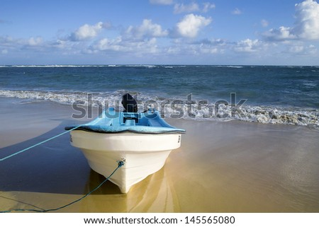 Boat on the beach. Skyline.  - stock photo