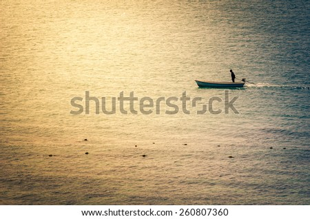 Boat on the blue sea nature in Thailand vintage - stock photo