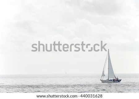 Boat on the ocean - stock photo