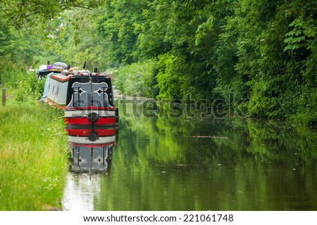 Boat on the old canal in Oxford. England, UK - stock photo