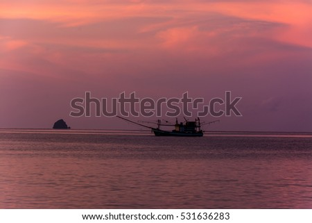 Boat on the sea in twilight time