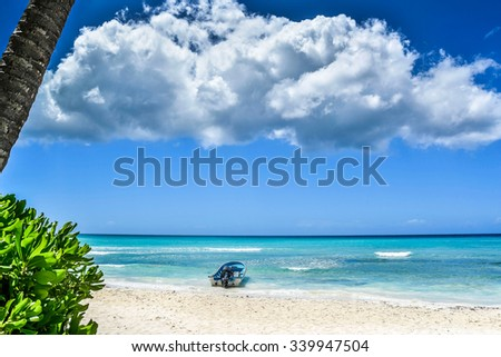 Boat on Tropical Beach at Island in Dominican Republic - stock photo