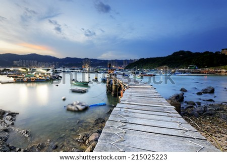 Boat pier at sunset. Beautiful landscape.