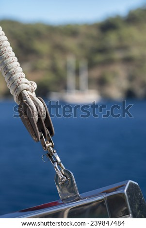 Boat pulley on a yacht - stock photo
