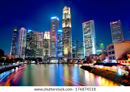 Boat Quay, Singapore - stock photo