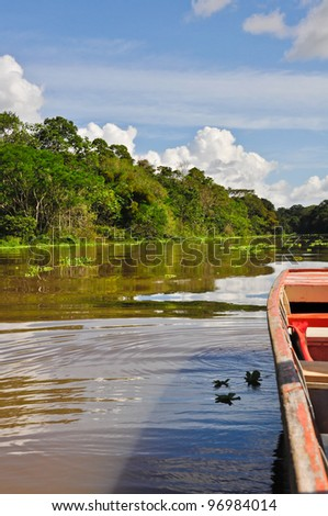 Boat ride along the Amazon river near Iquitos - stock photo