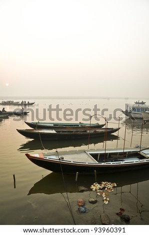 Boat ride at Varanasi, India - stock photo