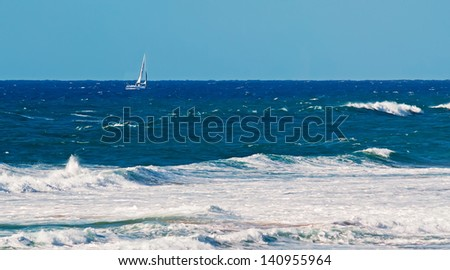 boat sailing in the rough sea
