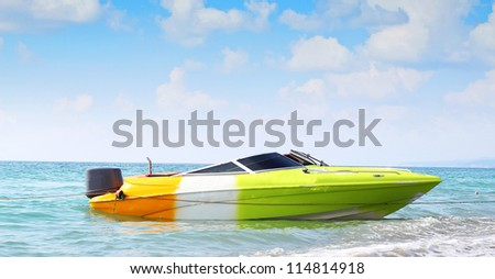boat sea blue sky - stock photo