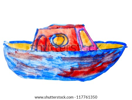 boat ship yacht watercolor drawing red blue isolated on white background - stock photo
