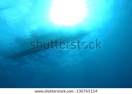 Boat silhouette under water, Bohol,