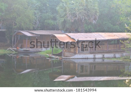 boat sinking in the lake at Thailand       - stock photo