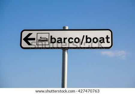 Boat stop sign in portuguese and english