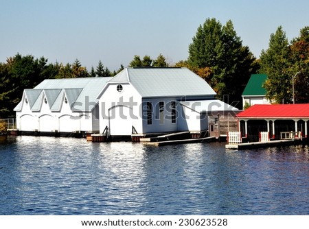 Boat storage facility - stock photo