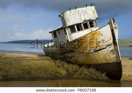 Boat Stuck in the Mud - stock photo