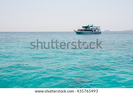 boat Tour Parked in the Andaman Sea