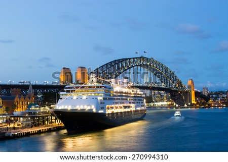Boat traffic around Circular Quay at rush hour on a summer's evening in Sydney, Australia - stock photo