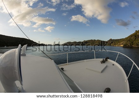 Boat view/ super wide angle shot taken from a large pleasure boat